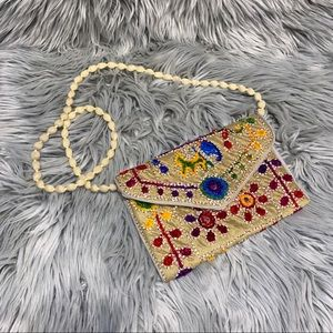 Anthro embroidered floral crossbody mini bag